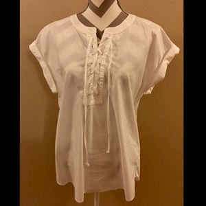 J. Crew Lace-Up Popover Top